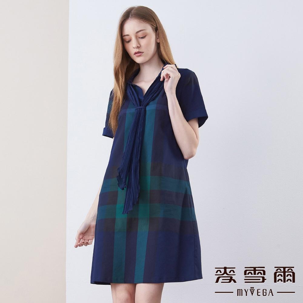 【麥雪爾】純棉英倫風格紋領巾襯衫洋裝