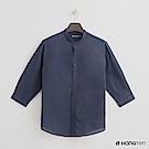 Hang Ten - 男裝 - 純色棉質圓領襯衫 - 藍