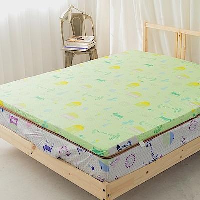 米夢家居-夢想家園系列-冬夏兩用高磅數天然涼爽竹青純棉透氣床墊-單人3尺(青春綠)
