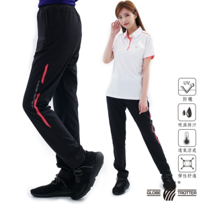 【遊遍天下】中性款防風防潑水速乾反光運動長褲GP10006黑粉