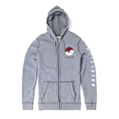 HOLLISTER 海鷗貼布LOGO連帽外套(男/灰S)