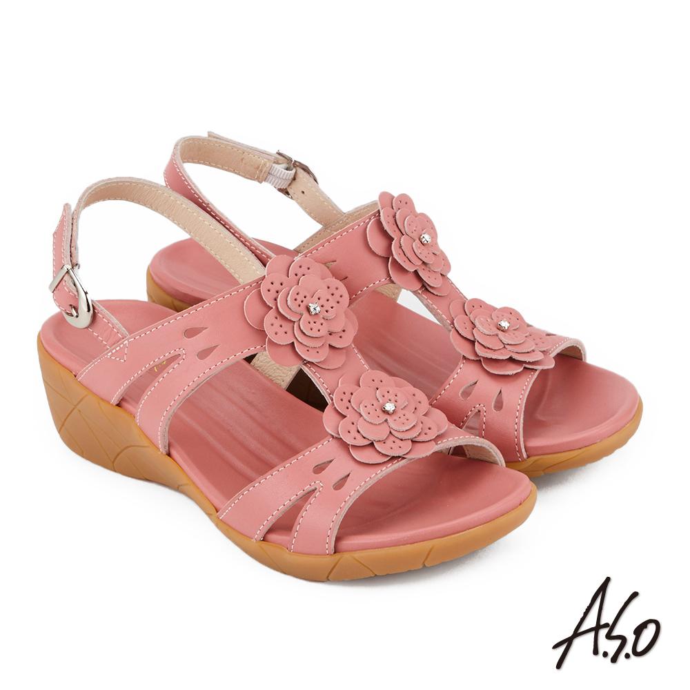 A.S.O 希臘渡假 全真皮簍空雕花休閒涼鞋 粉紅