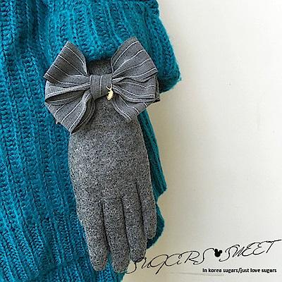 梨花HaNA 韓國熱賣回購率高灰條紋蝴蝶結手套