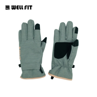 Well Fit 輕量防水觸控保暖手套【灰粉】(登山、旅遊、保暖、機車、滑雪)