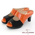 【CUMAR】優雅化身鏤空感鑽飾尖頭魚口粗跟涼鞋-桔色