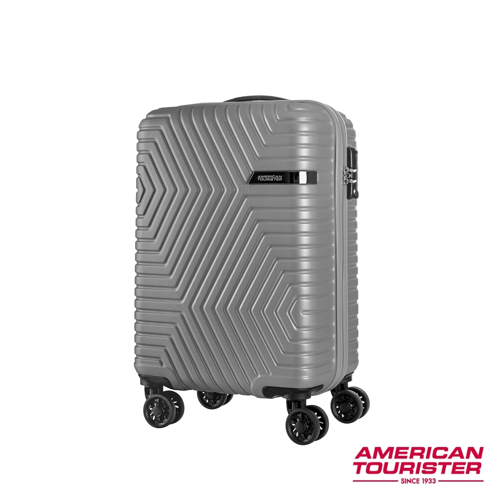 AT美國旅行者 20吋 ELLEN防刮耐磨幾何硬殼TSA登機箱(灰)