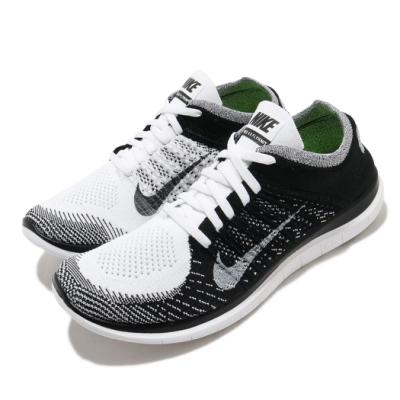 Nike 慢跑鞋 Free 4 Flyknit 男鞋 輕量 透氣 舒適 赤足 針織鞋面 運動 白 黑 631053100