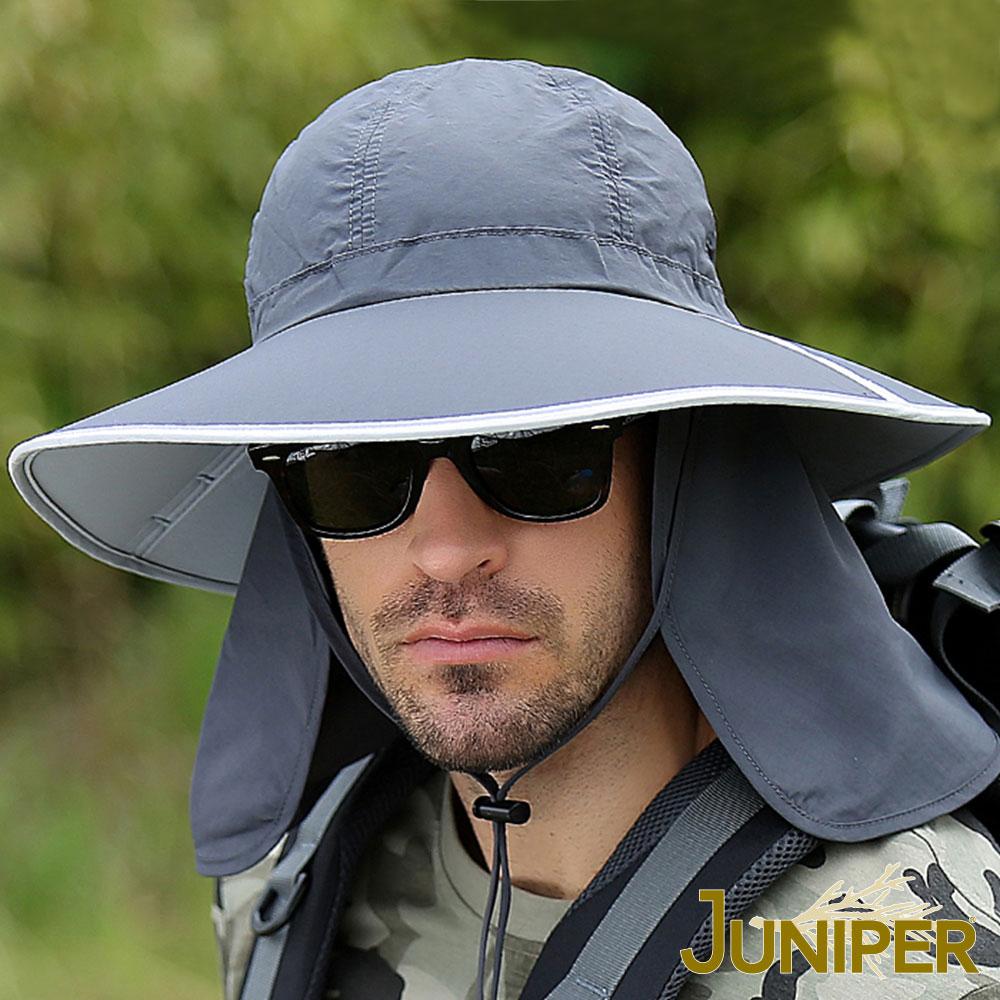 JUNIPER 抗紫外線UV防潑水可對折遮陽高頂漁夫帽+可拆式披風