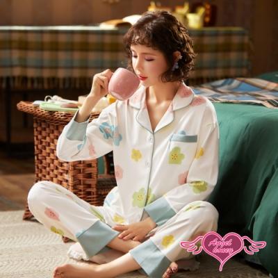 哺乳衣 清新小花 二件式孕婦裝 日系氣質甜美居家休閒服(白色2XL) AngelHoney天使霓裳