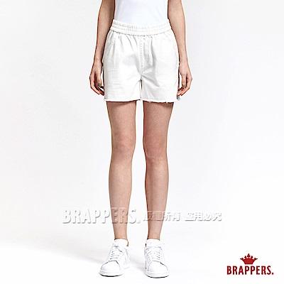 BRAPPERS 女款 Boy Friend 系列-女用寬版褲頭鬆緊帶短褲-白