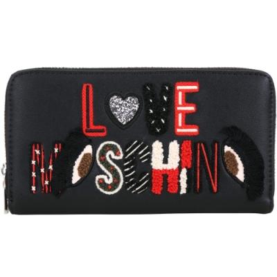 LOVE MOSCHINO 刺繡羊毛感字母補丁拉鍊長夾(黑色)