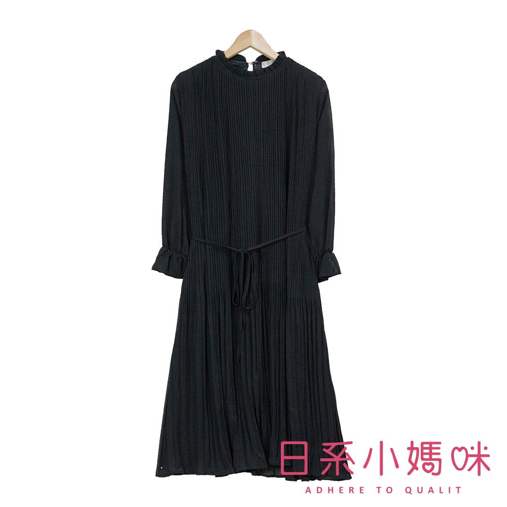 日系小媽咪孕婦裝-孕婦裝~素面荷葉領百褶雪紡洋裝~附綁帶 product image 1
