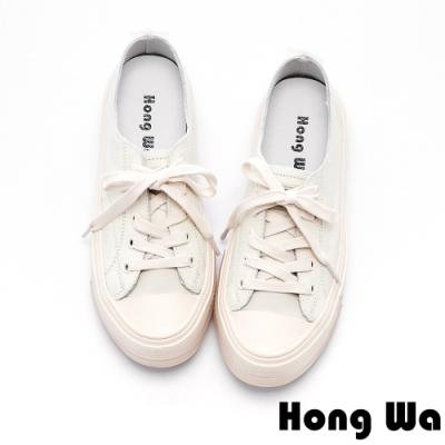 Hong Wa 開口笑設計綁帶牛皮休閒鞋 - 米