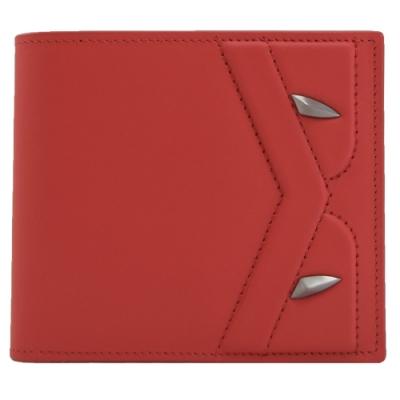 FENDI BUGS系列毛怪造型小牛皮八卡短夾(紅/黑)