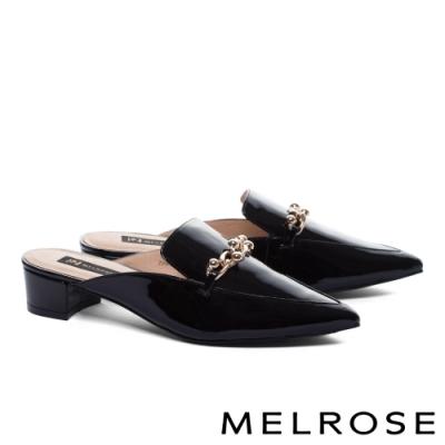 穆勒鞋 MELROSE 質感率性金屬飾釦漆皮尖頭低跟穆勒拖鞋-黑