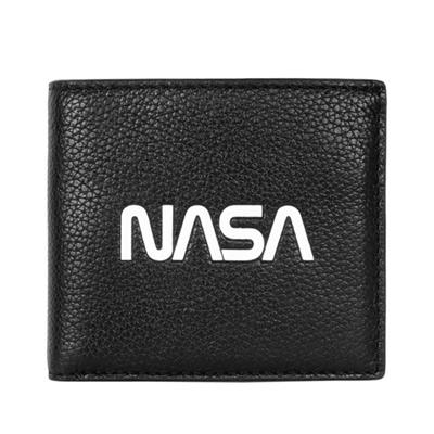 COACH太空系列NASA黑色荔枝紋全皮雙摺對開男夾