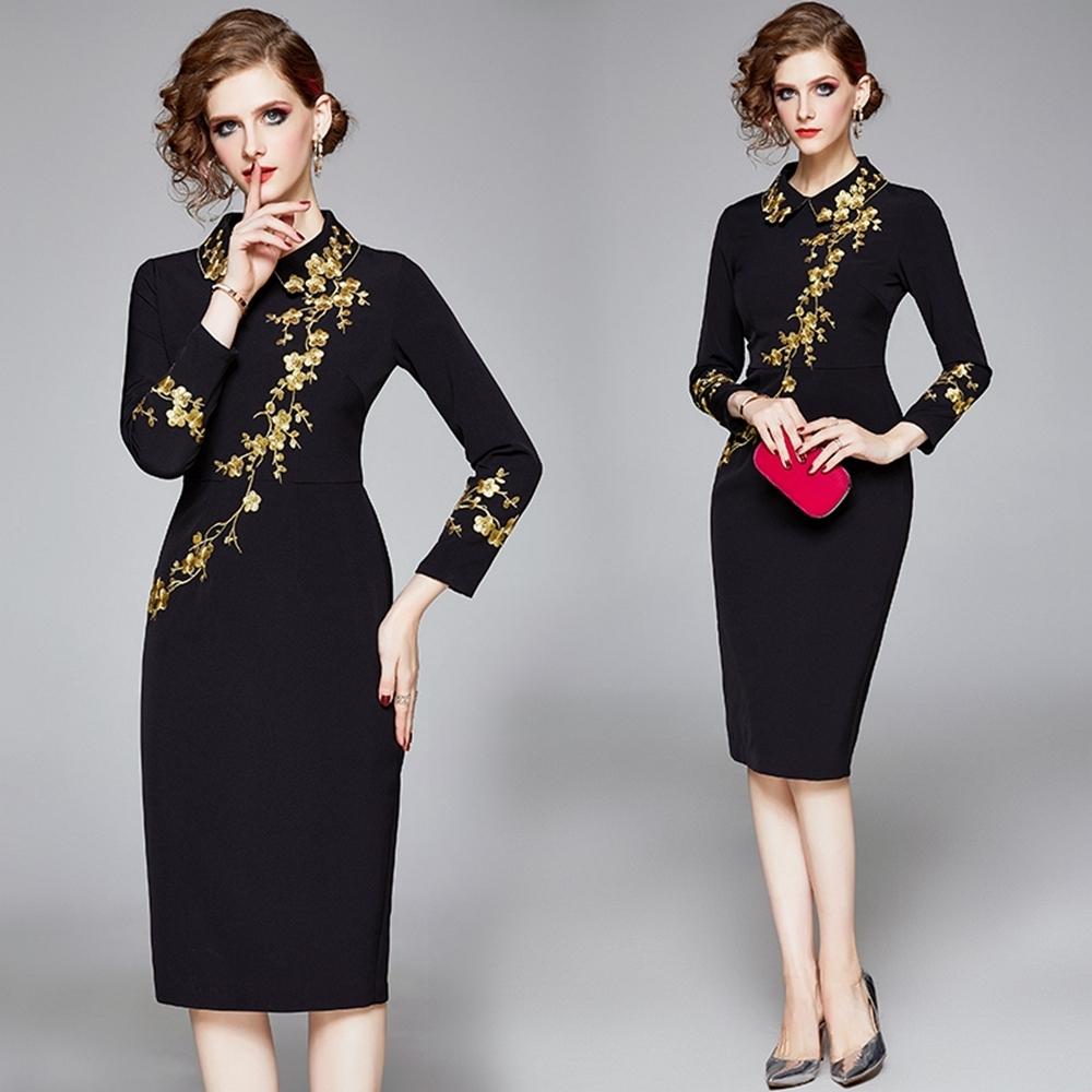 時尚黑色刺繡金梅高貴氣質洋裝L-2XL-M2M