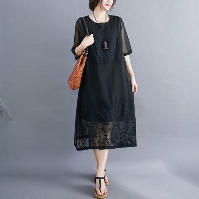 米蘭精品 連身裙短袖洋裝-休閒寬鬆典雅黑色女裙子73xz10