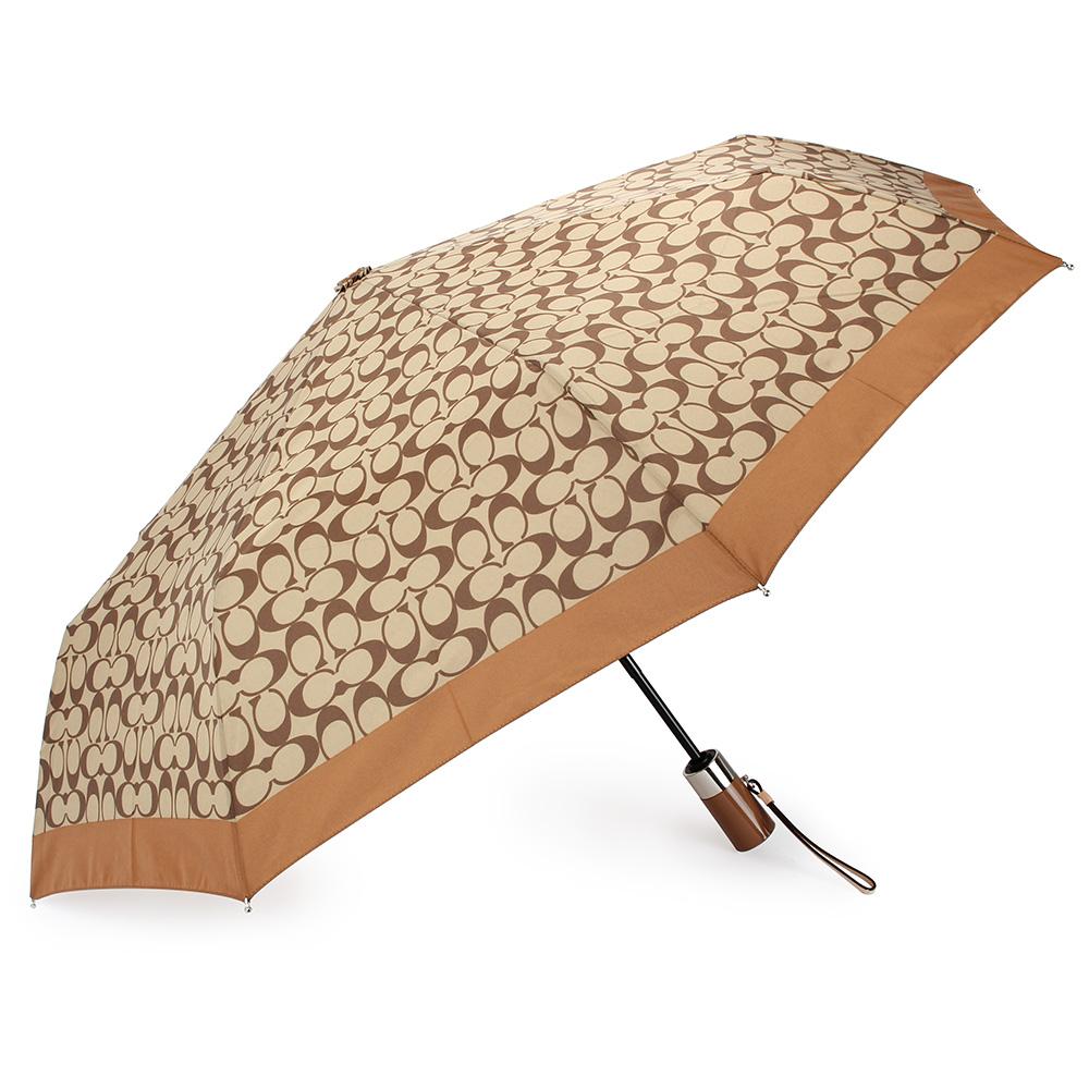 COACH 經典滿版LOGO全自動開闔晴雨傘-卡其/咖啡COACH
