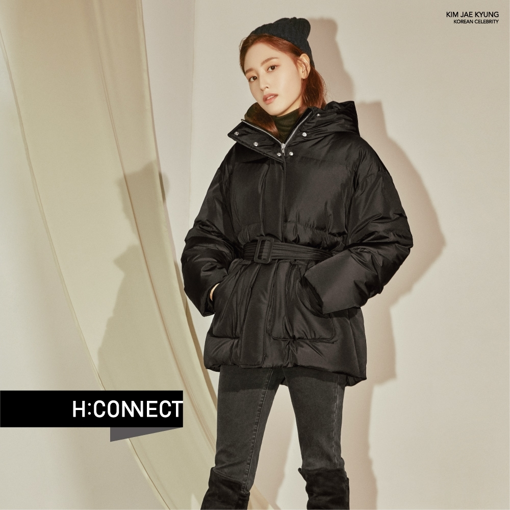 H:CONNECT 韓國品牌 女裝 - 腰帶造型羽絨外套 - 黑