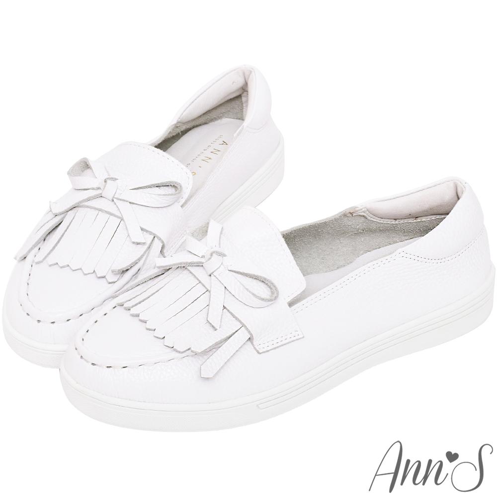 Ann'S第二代氣質派流蘇蝴蝶結全真皮小白鞋-白