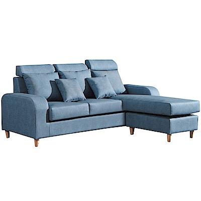 品家居 席爾沙貓抓皮L型獨立筒沙發(三人座+椅凳)-168x168x99cm免組