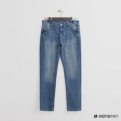 Hang Ten -磨破設計刷色牛仔褲 - 淺藍