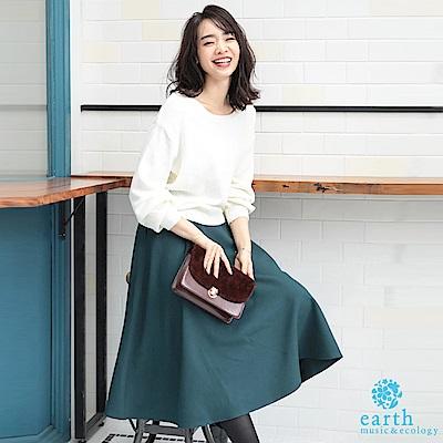 earth music 2WAY正反兩穿針織衫+基本款素面中長裙