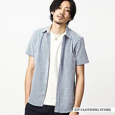 短袖襯衫格紋純棉泡泡紗(3色) ZIP日本男裝