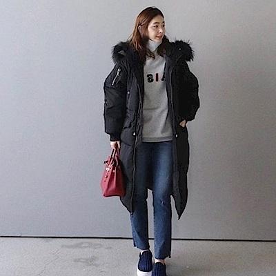 AH dream夢想女孩 韓國空運大毛領中長版仿羽絨大衣A416
