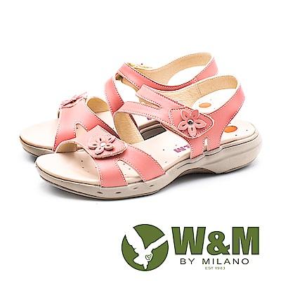 W&M 馬卡龍素色小花健走健塑涼鞋 女鞋-粉(另有灰)