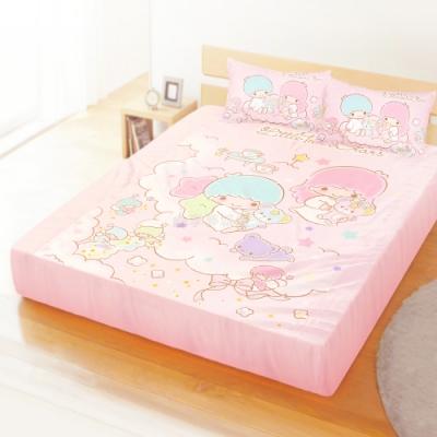 享夢城堡 精梳棉雙人加大床包枕套6x6.2三件組-雙星仙子Little Twin Stars 小熊扮家家-粉