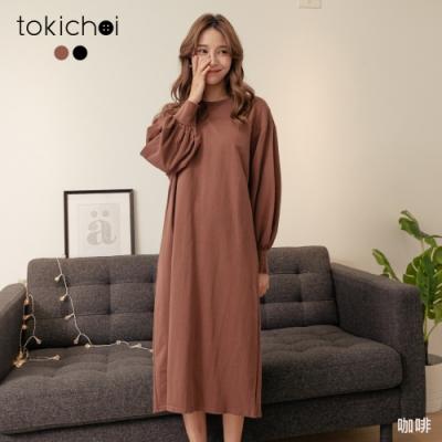 東京著衣 悠閒時光圓領後開岔寬袖長洋裝