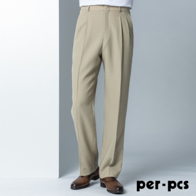 per-pcs 經典質感打摺西裝褲_卡其條紋(87223)