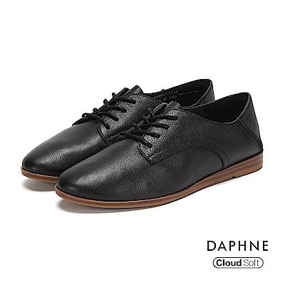 達芙妮DAPHNE 休閒鞋-真皮綁帶拼接牛津踩腳休閒鞋-黑