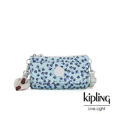 Kipling 典雅淡藍小花翻蓋肩背側背包-VECKA STRAP