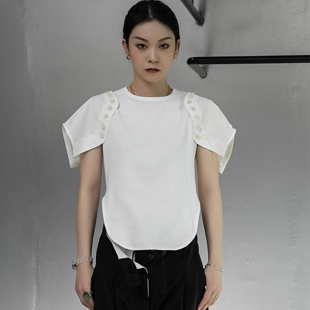 設計所在Style-不規則可拆卸修身兩穿短袖T恤