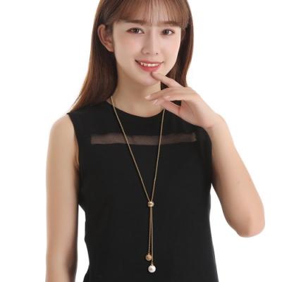 梨花HaNA 韓國細緻的女人珍珠Y型轉輪長項鍊金色