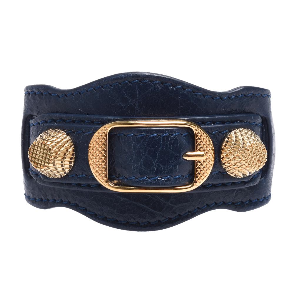 BALENCIAGA 經典GIANT金色金屬羊皮手環(S-海軍藍X金)