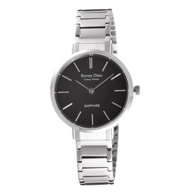 Roven Dino羅梵迪諾 典雅時尚細緻女錶-銀X黑-RD6068S-336BL