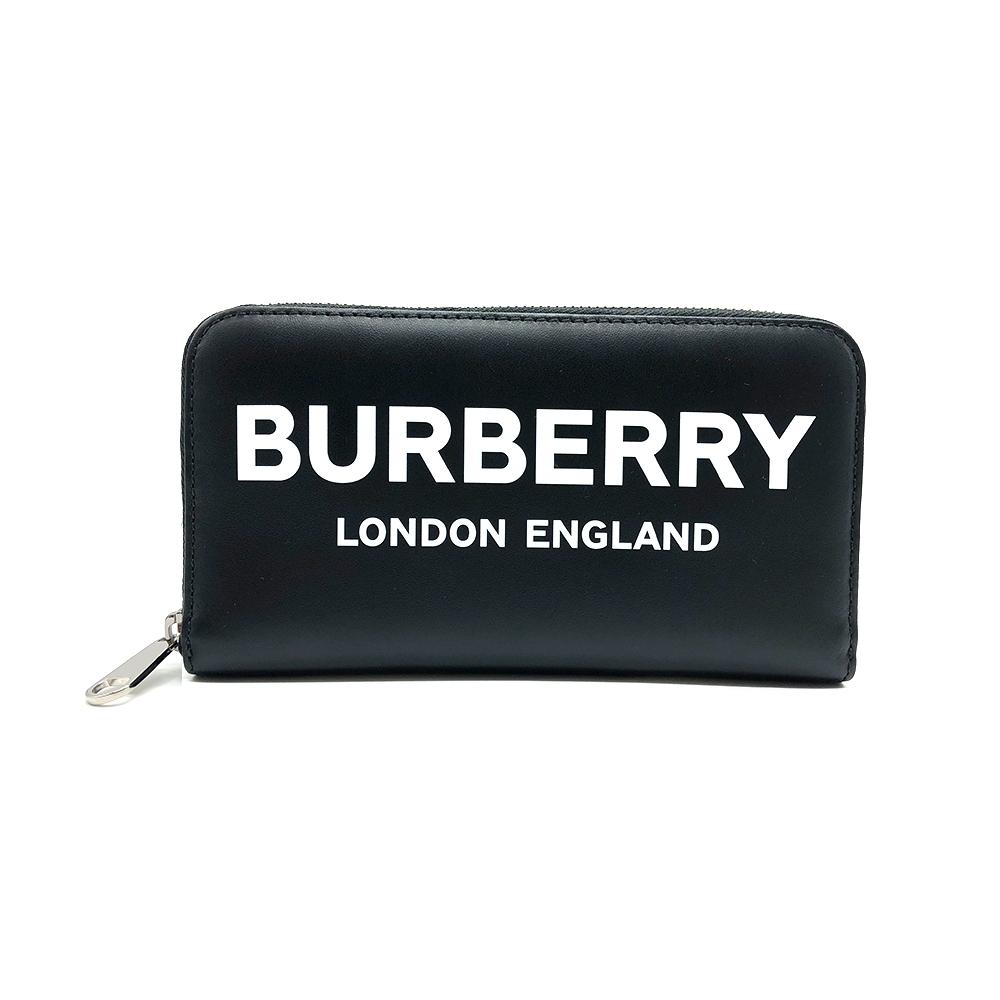 BURBERRY 滑面牛皮 PRINT 字母拉鍊長夾(黑)