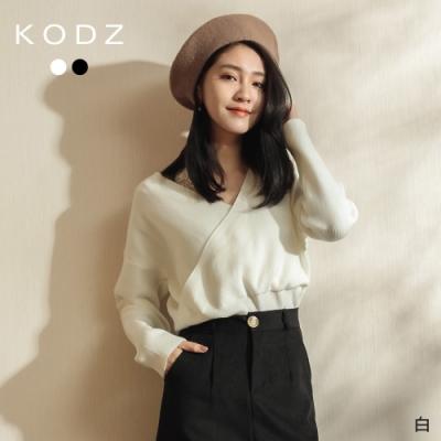 東京著衣-KODZ 低調性感蕾絲拼接V領針織上衣(共二色)