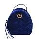 GUCCI GG Marmont絎縫紋天鵝絨金屬雙G LOGO拉鍊手提/後背包(寶藍) product thumbnail 1