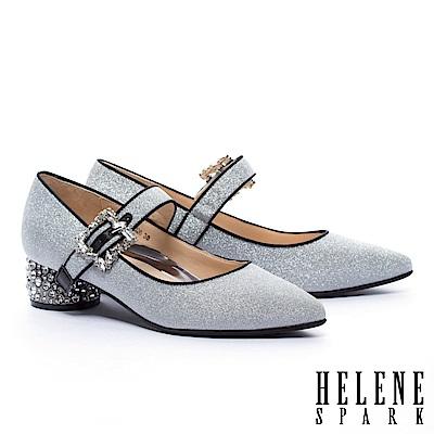 高跟鞋 HELENE SPARK 復古奢華晶鑽跟金屬羊皮尖頭瑪莉珍高跟鞋-銀