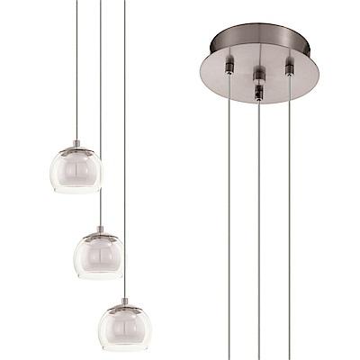 EGLO歐風燈飾 現代風玻璃三燈式吊燈