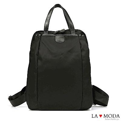 La Moda 簡約大方防潑水超大容量後背包(黑)
