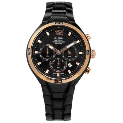ALBA 藍寶石水晶玻璃 三眼計時 日期 防水 不鏽鋼手錶-玫瑰金框x鍍黑/44mm