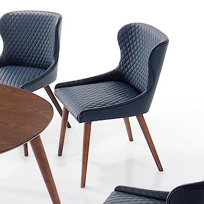 AS-瓦勒莉胡桃深藍皮餐椅-51x53x82cm
