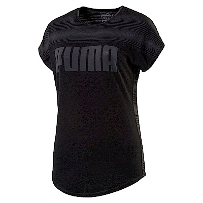 PUMA-女性訓練系列半印花短袖T恤-黑色-歐規
