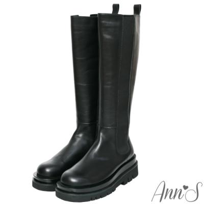 Ann'S就是比較瘦-頂級牛皮輕量厚底切爾西及膝長靴